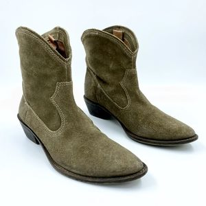 MIA Suede Leather Pull On Western Ankle Boots Sz 7